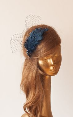 Navy Blue Birdcage Veil FASCINATOR with Feathers. Cocktail Fascinator by ancoraboutique on Etsy