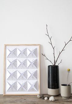 DIY paper wall decoration. Folding 3D wall art from cardboard by Søstrene Grene