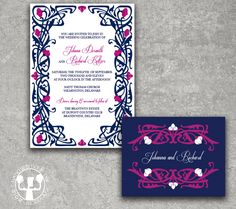 Deco Garden Navy Fuschia Wedding Invitation. $3.75, via Etsy.