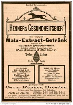 Original-Werbung/Inserat/ Anzeige 1894: RENNERR'S GESUNDHEITSBIER DRESDEN ca. 90 X 130 mm