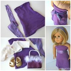 """American Girl 18"""" Doll dress up-cycled from a t-shirt. The sleeve might be about the right size, just add elastic to the top and use the sleeve hem as the dress hem. Sweet, girls can make this with little help."""