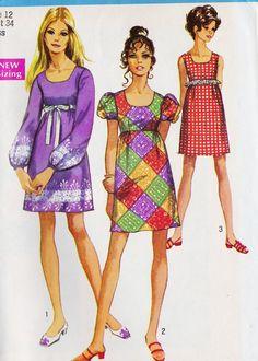 1960s Misses Empire Waist Dress- I love the purple