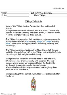 PrimaryLeap.co.uk - Vikings In Britain Worksheet
