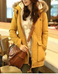 $24.28 Hooded Fashionable Style Pockets Beam Waist Solid Color Long Sleeves Cotton Coat For Women