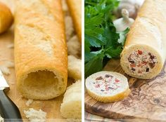 Stuffed Baguette - chicken cranberry, artichoke cream cheese, or crab salad Stuffed Baguette, Baguette Recipe, Baguette Sandwich, Good Food, Yummy Food, Tea Sandwiches, Dog Treat Recipes, Appetisers, Us Foods