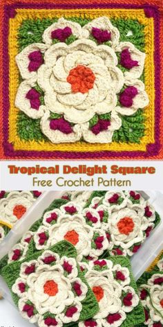 Tropical Delight - Crochet Square [Free Pattern and Video Tutorial]