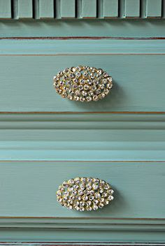 Old dresser transformed with fresh paint and new sparkly hardware from Anthropologie.