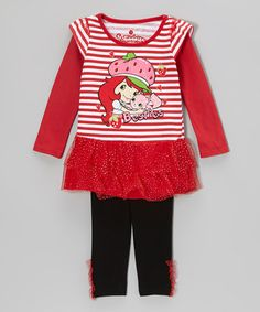 Take a look at this Red Stripe 'Besties' Skirted Tunic & Leggings - Toddler & Girls by Strawberry Shortcake on #zulily today!