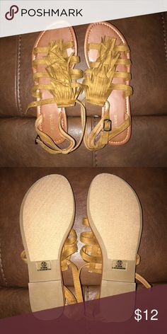Tan fringe maurices sandals - brand new Never worn, I have wide feet near my toes and these weren't comfortable for me, but they are so cute and trendy. My loss your gain! Maurices Shoes Sandals