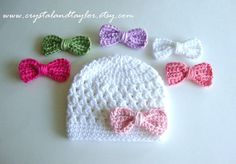 White Baby Hat with 5 Different Bow Options by crystalandtaylor, $21.99