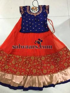 Red and Orange Net Skirt - Indian Dresses