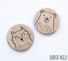 SET di 2 - Woodland spille, spilla in orso & Fox spilla legno accessori arte da indossare, Woodland animale, legno spilla, sciarpa pin, animale badge