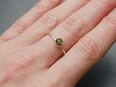 Green Amber and sterling silver ring £34.00