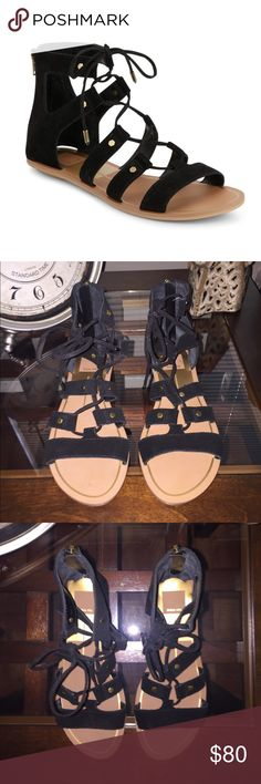 "✨NWT! Dolce Vita"" Black Suede lace up sandals! ✨NWT! Dolce Vita"" Black Suede lace up sandals! Chic-lace up soft suede... Back zipper closure ...leather man made lining .. Light padded insole ! Size 6  NO TRADES ...I own the same ones and there my favorite  Dolce Vita Shoes Sandals"