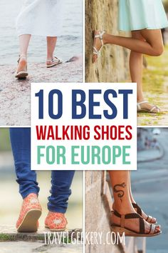Best Walking Shoes for Europe: See my pick of 10 best travel shoes for Europe for all seasons (spring, summer, autumn, winter) and all travel styles. Walking shoes for travel that are comfortable, cute, fashionable, even dressy. From sandals to boots. Walking shoes for Europe travel, especially for women.  #shoes #travelshoes #europe #walkingshoes #traveltip #travelgeekery European Travel Tips, European Summer, Europe Travel Guide, Packing List For Travel, Packing Hacks, Packing Lists, Europe Destinations, Spain Travel, Travel Guides