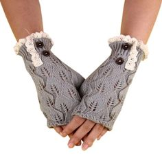 NEW Knit Fingerless Lace Trim Gloves in Light Grey Brand new! Soft and warm. Chic and fashionable. Embellished with cream colored lace and coconut shell buttons. Keep warm this winter! These make a great gift, also! NO TRADES Accessories Gloves & Mittens