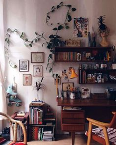 Home office interior design house decoration bohemian decor houseplant. Office Interior Design, Home Office Decor, Office Interiors, Office Ideas, Office Inspo, Interior Modern, Vintage Office Decor, Studio Interior, Design Interiors