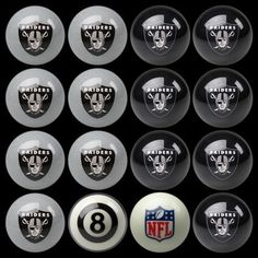 Oakland Raiders Pool Ball Set - Billiards supplies and pool table accessories, these pool balls are great for 8 ball and solids and stripes, awesome raiders graphics.