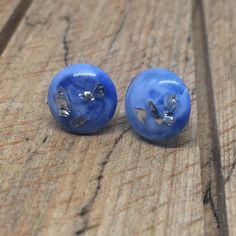 The technique of painting with resin creates beautiful one of a kind pieces. Resin Jewellery, Jewelry Art, Surgical Steel Earrings, Irish Jewelry, Crushed Glass, Shades Of Blue, Blue And Silver, Wearable Art, Studs