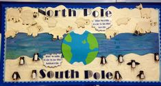 When it's time to investigate the North and South poles or polar animals, this display is a super visual! Too often penguins and polar bears are featured together! School Displays, Classroom Displays, Library Displays, Winter Art, Winter Theme, North Pole Animals, Polo Sul, Artic Animals, Penguins And Polar Bears