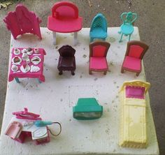 MINIATURE DOLLHOUSE DOLL FURNITURE TV TABLE CHAIR VANITY BED FOOD HAIR DRYER ETC