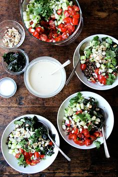 bulgur bowl with cucumber, tomato, and lemon-tahini drizzle