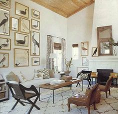Gallery wall of black and white vintage prints of birds in a neutral living room - Art Wall Ideas