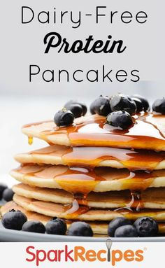 Dairy-Free Protein Powder Pancakes Recipe. You won't miss the dairy in these filling, fluffy pancakes! | via @SparkRecipes
