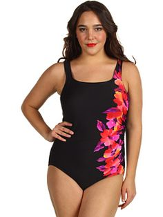 Miraclesuit - Plus Size Happy Place Sideswipe Swimsuit