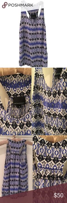 "Cynthia Rowley Multi tone Blue Patterned Tank Top 🎁Offers encouraged & flexible                                                                                🔑Bundle to save 10%                                                                                                   👍Like for price drop notifications                                     EUC, no stains spots or loose threads. Length from top to hem~ 24.5"", neckline to hem to hem ~18"". Can fit XS-M. Cynthia Rowley Tops Tank Tops"