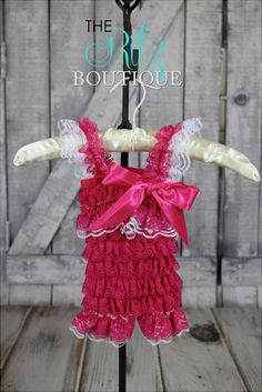 HOT PINK lace petti romper, lace romper, photo prop, birthday outfit, romper with sleeves