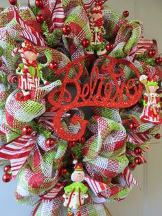 Christmas Elf Paper Mesh Wreath by DecoMeshObsession on Etsy