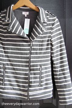Like this jacket. I like the stripes and the zippers. Very cute.