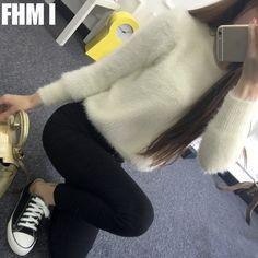 2016 mùa đông mohair áo len phụ nữ bảo hiểm rủi ro đoạn ngắn nữ Hàn Quốc áo len lông dày quần áo rộng rãi Cao Đẳng gió C080