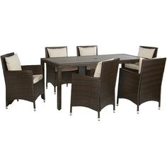 Angelo:HOME Nathaniel 7 Piece Dining Set With Cushions U0026 Reviews | Wayfair