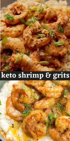 Low Carb Shrimp Recipes, Seafood Recipes, Keto Recipes, Vegetarian Recipes, Cooking Recipes, Dinner Entrees, Dinner Recipes, Comida Keto, Grits Recipe