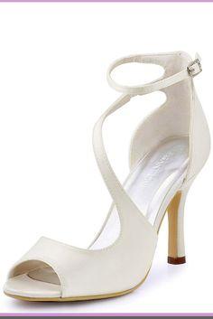 ElegantPark Women s Peep Toe High Heels Rhinestones Buckles Satin Evening  Party Prom Dress Sandals Silver US 5. Wedding shoes e95a2297273b