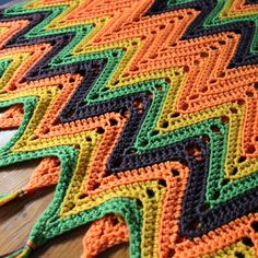 Vintage Hand Crochet Shawl Chevron Autumn Colors by KerryCan, $25.00