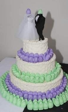 Cake Wrecks - Home - And Now, MORE Weird WeddingCakes...wedding around easter, why not use peeps :)