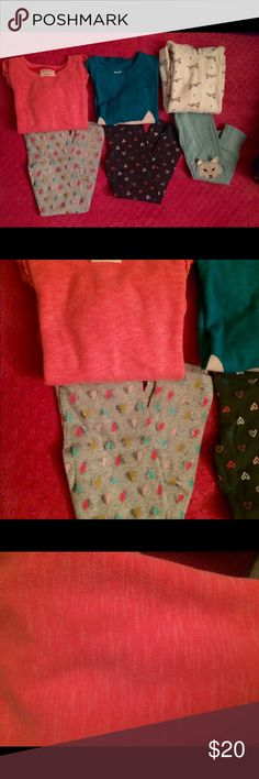 3 lot bundle, leggings and sweatshirt set 3 leggings set from Target size 5t. The first two are the cat and jack brand, the last one is genuine kids. The first one is a sort of neon pink sweatshirt with a middle pocket, leggings are gray with sparkles and hearts. The second one is a long sleeve shirt with a cat in the front and a tail pictured on the back of the shirt with dark gray leggings and colorful hearts. The last one is a hoodie sweatshirt with blue leggings and fox knees. target…