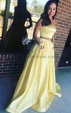 Cherry Beaded 2 Piece Satin Applique Yellow Formal Dress