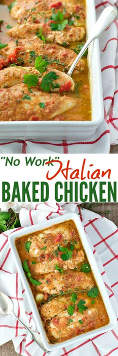 """Finally! A healthy, easy dinner recipe that the whole family can agree on -- """"No Work"""" Italian Baked Chicken!!"""