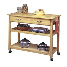Home Marketplace Solid-Wood Top Kitchen Cart - Natural Finish