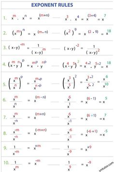 Algebra: Exponent Rules m Gcse Math, Maths Algebra, Math Math, Calculus 2, Algebra Activities, Math Multiplication, Math Teacher, Kindergarten Math, College Math