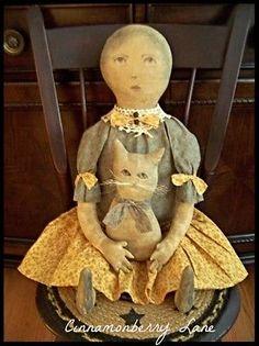 Primitive Folk Art Antique Style Doll With Her Pet Cat Farmhouse Colonial