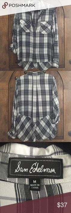 Sam Edelman Riley split back blouse Sam Edelman black, gray, and white plaid blouse. Great with skinny jeans and booties! Sam Edelman Tops Button Down Shirts