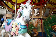 A horse on the first carousel-at-sea, to be found aboard Royal Carribean's 'Oasis of the Seas'. A menagerie carousel including the horses, it was built and installed aboard the ship by The Carousel Works of Ohio in 2009 at the shipyard in Turku, Finland.