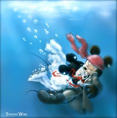 I love you | by twisted-wind @ DeviantART.com // #disney; mickey and minnie mouse