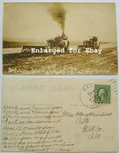 Ray North Dakota ND Tractors In Field c 1918 Vintage scarce postcard.