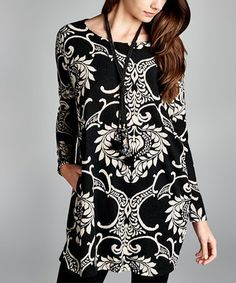 a5a3f783b8 Look at this  zulilyfind! Black  amp  White Damask Dual Pocket Tunic   zulilyfinds